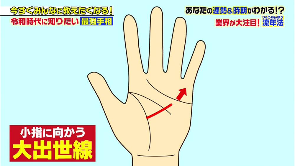 小指に向かっている線は、大出世線で「出世運」が上昇する兆し