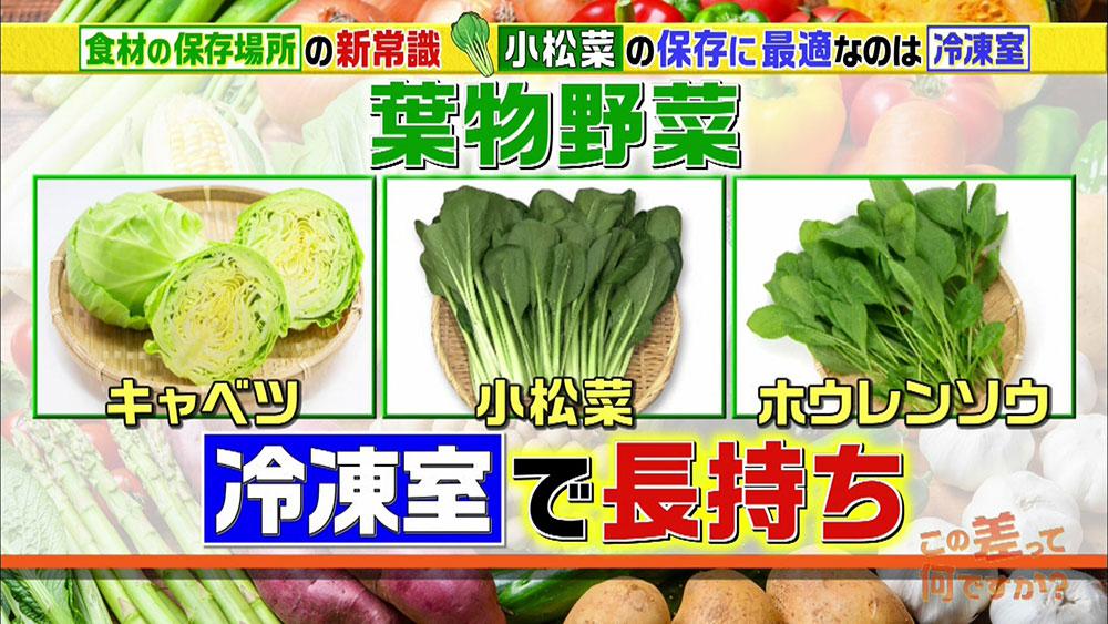 冷凍では約2~3週間も保存が可能な葉物野菜