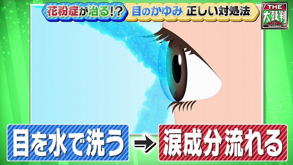 涙成分が流れてしまうため水で目を洗うのは危険